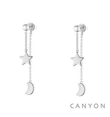 Boucles d'oreilles tiges une étoile-une lune-CANYON. E-Shop bijoux-totem.fr