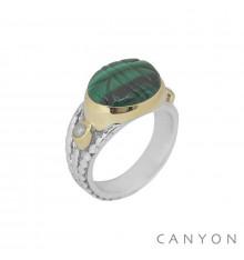 canyon-bague-argent 925-scarabée-malachite-bijoux totem.
