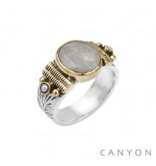 CANYON-Argent 925-bague-pierre de lune-bijoux totem.