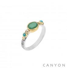 canyon-bague-argent 925-chrysoprase-turquoise reconstituée-bijoux totem.