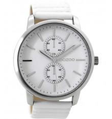 oozoo-montre-femme-bracelet cuir blanc-bijoux totem