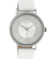 oozoo-montre-femme-bracelet cuir-blanc-bijoux totem