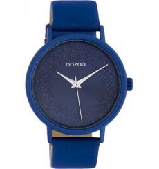 oozoo-montre-femme-bracelet cuir-bleu-bijoux totem