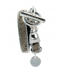Secret de cuir-bracelet-double tours-bijoux totem.