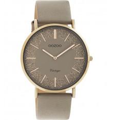 oozoo-montre-femme-bracelet cuir-taupe-bijoux totem