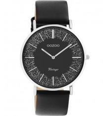 oozoo-montre-femme-bracelet cuir-noir-bijoux totem