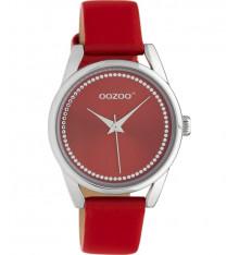 oozoo-montre-femme-bracelet cuir-rouge piment-bijoux totem
