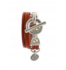 secret de cuir-bracelet-2 tours-argenté-camel-bijoux totem.
