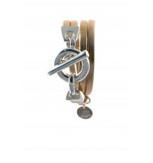secret de cuir-bracelet-2 tours-argenté-champagne-bijoux totem.