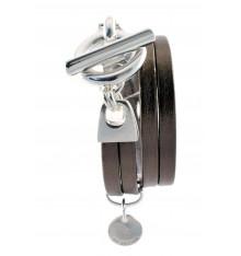 secret de cuir-bracelet-2 tours-argenté-mordoré-bijoux totem.