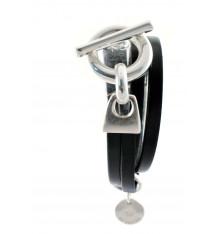secret de cuir-bracelet-2 tours-cuir-noir-bijoux totem.