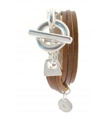 secret de cuir-bracelet-2 tours-cuir-tabac-bijoux totem.