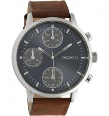 oozoo-montre-homme-bracelet cuir marron-bijoux totem