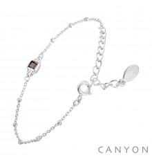 canyon-bracelet-argent-chainette-quartz fumé-bijoux totem