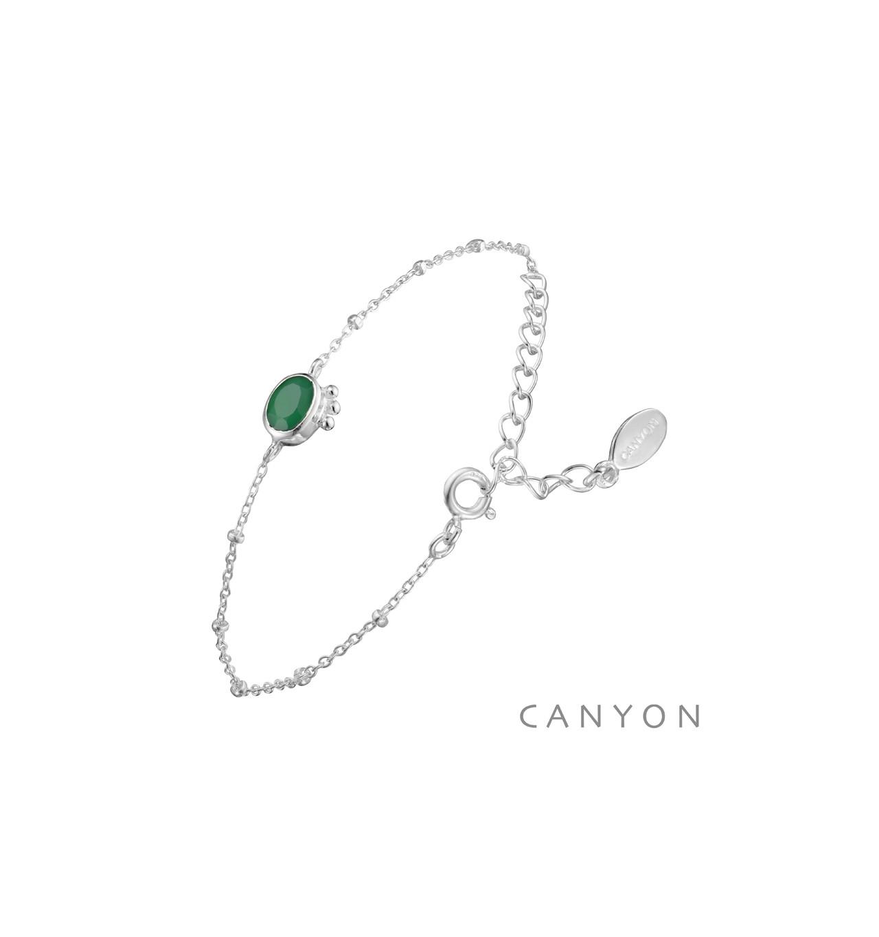 canyon-bracelet-argent-chainette-ovale-onyx vert-bijoux totem