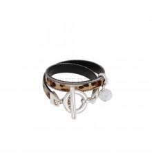 secret de cuir-bracelet-2 tours-cuir-léopard-bijoux totem.