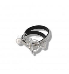 secret de cuir-bracelet-2 tours-cuir-argenté-bijoux totem.
