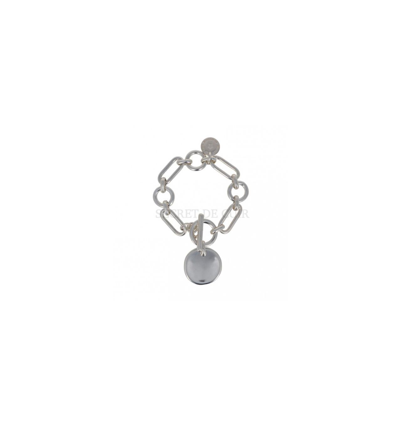 secret de cuir-bracelet-maillons rectangles-donuts-bijoux totem.