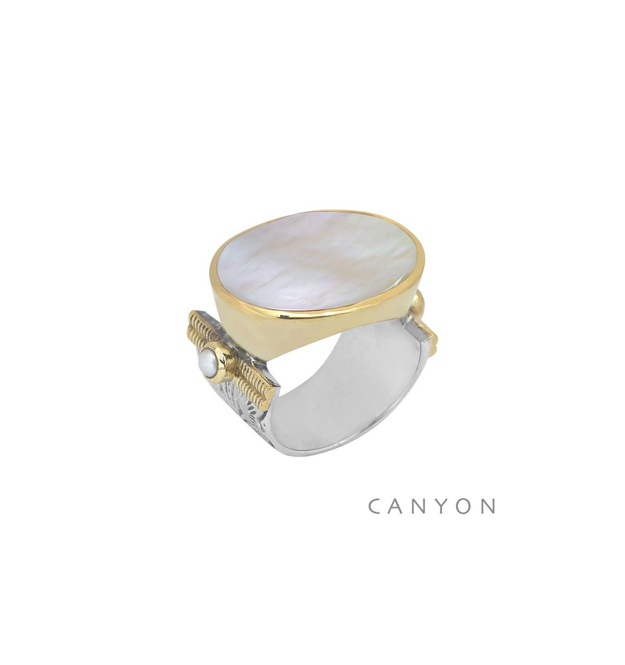 canyon-bague-argent 925-nacre blanche-bijoux totem.
