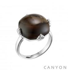 canyon-bague-argent 925-quartz fumé-bijoux totem.