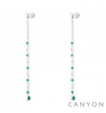canyon-boucles d'oreilles-onyx vert-argent 925-bijoux totem