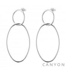canyon-boucles d'oreilles-pendantes-cercle & ovale-argent 925-bijoux totem.