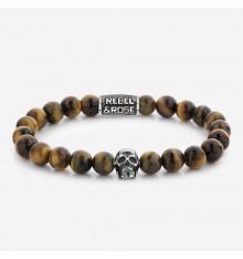rebel&rose-skull Mixed tiger eye-bracelet-extensible-homme-bijoux totem.