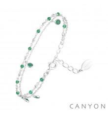 canyon france-bracelet-argent-2 rangs-onyx vert-bijoux totem