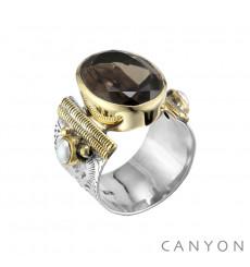 Canyon france-bague-argent-quartz fumé-bijoux totem.
