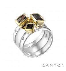 Canyon france-bague-argent-3 anneaux-quartz fumé-bijoux totem.