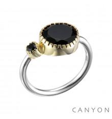 Canyon france-bague-argent-anneau-onyx noir-bijoux totem.