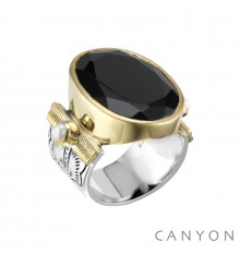 Canyon france-bague-argent-onyx noir-bijoux totem.