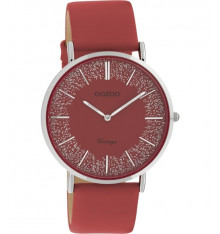 oozoo-montre-femme-bracelet cuir-rouge-bijoux totem