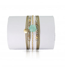loetma-hexagone-bracelet-multi tours-réglable-calcédoine-bijoux totem