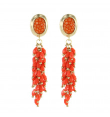 Barong barong-the river-boucles d'oreilles-grappe-galuchat orange-bijoux totem.