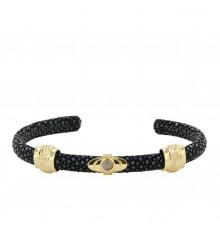 barong barong-saphira lotus-jonc-bracelet-noir-bijoux totem.