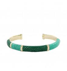 barong barong-saphira-bracelet-jonc-cuir-vert-bijoux totem.
