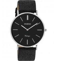 oozoo-montre-femme-bracelet cuir-noir pailleté-bijoux totem