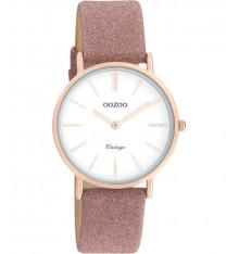 oozoo-montre-femme-bracelet cuir-rose pailleté-bijoux totem