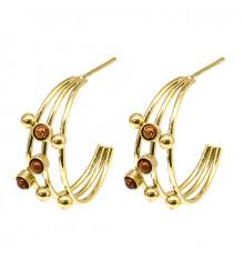 zag-boucles d'oreilles-créoles-constellation-œil de tigre-bijoux totem