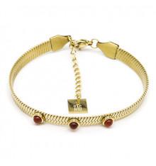 zag-bijoux-bracelet-efia-acier-doré-cornaline-bijoux totem.