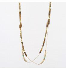 zag-bijoux-collier-long-acier-doré-œil de tigre-bijoux totem.